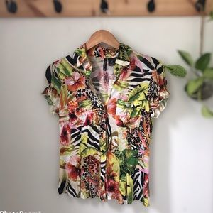 Tropical print button up with cuff sleeves